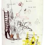 Sem titulo, 2013-2014, aquarela, grafite, tinta esmalte, pastel e lápis de cor sobre papel, 20x29 cm