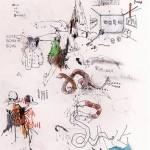 """""""Fake Doodles #03"""", grafite, aquarela, nanquim, pastel e lápis de cor sobre papel, 15x25 cm"""