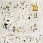 Sem titulo, 2013, grafite, aquarela, pastel, guache e lápis de cor sobre papel, 101x100 cm
