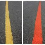 """""""Linha Amarela e Linha Vermelha"""", 2011, impressão ink jet em papel algodão, madeira e vidro, 100x120 cm"""