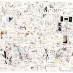 """""""Mapa"""", grafite, lápis de cor, pastel e colagem sobre papel políptico, 60x60 cm"""