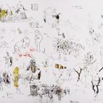 Sem titulo, 2013, grafite, aquarela, pastel, nanquim e guache e lápis de cor sobre papel, 150x58 cm