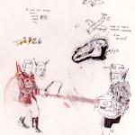 """""""Fake Doodles #01"""", 2011, grafite, aquarela, nanquim, pastel e lápis de cor sobre papel,15x25 cm"""