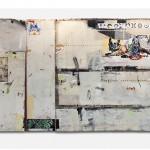 """""""Estado Atemporal, Relação Primeira e Terceira Pessoa"""", 2013, acrílica, esmalte sintético, lápis e caneta sobre madeira e chapa de ferro, 260x404x12 cm, edição: N/A"""