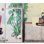 """""""Síntese entre Ideias Contraditórias e a Pluralidade do Objeto como Imagem"""" (detalhe), 2012, acrílica, esmalte sintético, lápis e caneta sobre tela e ferro, 260x495 cm, edição: N/A"""