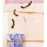 """""""Lisboa, porto seguro"""" (detalhe), 2014, acrílica, lápis, caneta sobre tela e sacos de farinha, concreto e tijolos, 305x297 cm, edição: N/A"""