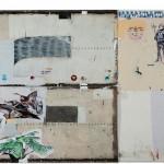 """""""Dialogo entre Arranjos, Constelações e Tempo 1"""", 2013, acrílica, esmalte sintético, lápis e caneta sobre tela e ferro, 246x400 cm, edição: N/A"""
