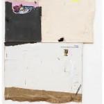 """""""Concreto, ouro e linho"""", 2013, acrílico, esmalte sintético, lápis, caneta, sujeira sobre tela, ferro, concreto e tijolo, 200x160 cm, edição: N/A"""