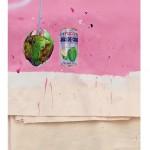 """""""Escambo/similitude"""", 2014, acrílica, caneta, lápis, esmalte sintético sobre tela e saco de sementes, 115x129 cm, edição: N/A"""