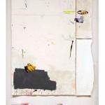 """""""Bahia e Portugal"""", 2013, acrílico, esmalte sintético, lápis, caneta, sujeira sobre tela, concreto e tijolo, 252x168 cm, edição: N/A"""