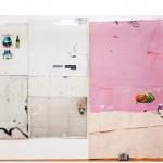 """""""Oferenda, paisagem e guerra"""", 2014, acrílica, lápis, caneta, esmalte sintético sobre alumínio, tela, concreto e tijolo, 285x380 cm, edição: N/A"""