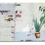 """""""HK47"""", 2012, acrílica, lápis, esmalte sintético e caneta sobre tela e chapa metálica, 200x300 cm"""