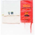 """""""Louvor ao império"""", 2014, acrílica sobre linho e algodão cru, caneta, fita adesiva e saco de arroz, 136x134 cm, edição: N/A"""