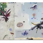 """""""MG3"""", 2012, acrílica, lápis, esmalte sintético e caneta sobre tela e chapa metálica, 200x300 cm, edição: N/A"""