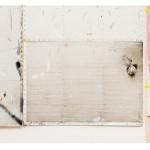 """""""Oferenda, paisagem e guerra"""" (detalhe), 2014, acrílica, lápis, caneta, esmalte sintético sobre alumínio, tela, concreto e tijolo, 285x380 cm, edição: N/A"""