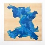"""Série """"Massas cromáticas"""", 2014, papel de seda, adesivo PVA, madeira,1,60x1,60 m"""