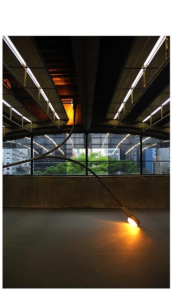 """""""Aparição"""", 2010-2011, instalação/negociação, poste de iluminação pública da prefeitura de São Paulo, SP, luminárias, lâmpadas, célula fotoelétrica e fiação, dimensões variáveis"""