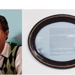 """""""Zé Carlos"""", da série """"Fábula do olhar"""", 2013, fotopintura digital impressa sobre papel de algodão, texto emoldurado, instalação de áudio, 120x90 cm (fotopintura), 40x50.5x5 cm (texto emoldurado), produção em colaboração com o fotopintor Mestre Júlio Santos"""