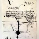 """""""Cartobiografias"""", 2014, nanquim e colagem sobre papel de tecido, 140x110 cm"""