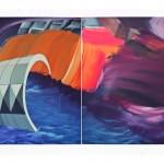 """Influxo"", 2013, acrílica e encáustica sobre tela, 210x380 cm"