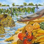 """""""Pássaros à beira rio"""", 2003, tinta óleo sobre tela, 70x120 cm"""