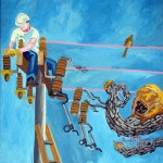 """""""O pássaro e o eletricista"""", 1998, óleo sobre tela, 110x95 cm"""