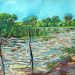 """""""Paisagem do Rio Claro"""", 2007, óleo sobre tela, 100x280 cm"""