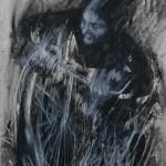 """""""Bicicleta"""", 2014, bastão de óleo e grafite em pó sobre papel, 76x56 cm"""