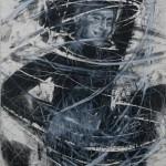"""""""Chicote"""", 2014, bastão de óleo e grafite em pó sobre papel, 76x56 cm"""