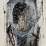 """""""Garoto segurando uma pedra"""", 2013, bastão de óleo e grafite em pó sobre papel, 100x70"""