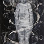 """""""Paranóia"""", 2013, bastão de óleo e grafite em pó sobre papel, 110x80 cm"""