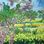 """""""Enquanto as folhas"""", 2008, óleo sobre tela, 130x150 cm"""
