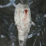 """""""Pierrot"""", 2012, acrílico, bastão de óleo e grafite em pó sobre papel, 100x70 cm"""