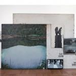 """""""O observador mede a profundidade de sua própria natureza"""", acrílica, resina e óleo sobre madeira e tela, vídeo (10') looping, 200x290 cm, mostra """"Experiência de Desaceleração"""", 2013"""