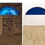 """""""Untitled blue #1"""" e """"Untitled blue #2"""", 2013, instalação site-specific e registro fotográfico, fotografia digital, díptico, impressão jato de tinta sobre papel, 83x50 cm (cada)"""
