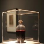 """Detalhe da exposição """"Heist Films Entertainment"""", 2014, objeto de cena #06, 2012, sangue cenográfico e pote de vidro, dimensões variadas"""