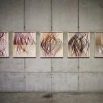 """""""Trilhas"""" da série """"Autorretratos Estatísticos"""", 2012, jato de tinta sobre papel de algodão + livro de artista, 0,70x0,65 m (cada)"""