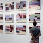 """""""Estados de Humor"""", da série """"Autorretratos Estatísticos"""", 2012, 12 acrílicas sobre tela + livro de artista, 0,60x0,70 m (cada)"""