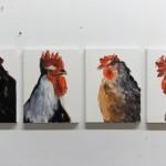 """""""Galos"""", 2014, óleo sobre tela, políptico, 30x21 cm"""