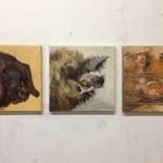 """""""Os três porquinhos"""", 2014, óleo sobre tela, tríptico, 30x30 cm (cada)"""