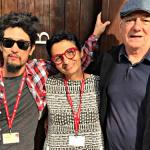 Os artistas André Komatsu, Berna Reale e Antonio Manuel em Veneza, foto de Patricia Rousseaux