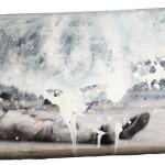 """""""Ueinzz Mix. # 100 (john)"""", 2015, acrílica e colagem sobre almofada. 48 x 28 cm"""