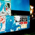 """""""Apócrifo"""", trabalho em andamento desde 2001, intervenção  urbana/ etc, Porto Alegre, RS, cartaz lambe em serigrafia inserido em tapumes (caracterísca da publicidade informal em centros urbanos), dimensões variáveis, fotografia: Patricia schreiner"""