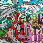 """""""Nai Panu"""", 2014, giz e caneta sobre papel A3, autoria de MAHKU – Movimento dos Artistas Huni Kuin"""
