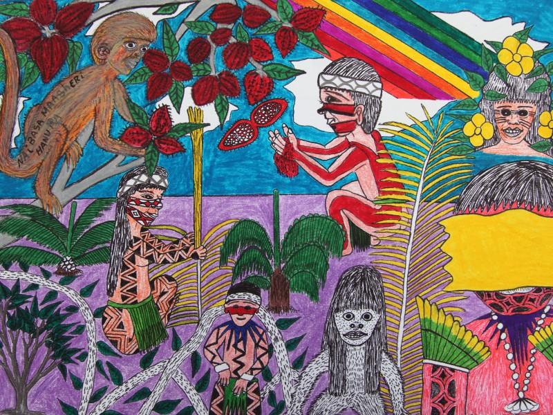 """Nai Basa Masheri"", 2014, giz e caneta sobre papel A3, autoria de MAHKU – Movimento dos Artistas Huni Kuin"