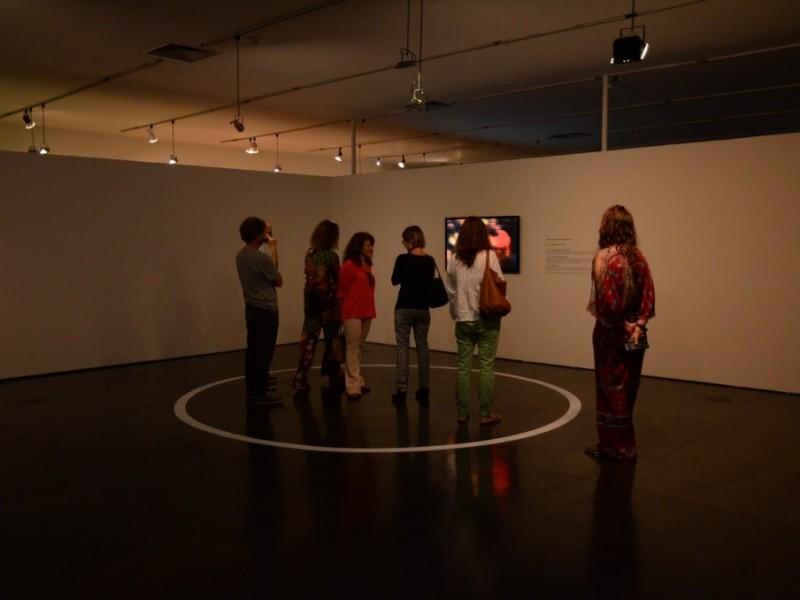 "Vistantes observando a obra ""Círculo"" de Clara Ianni"